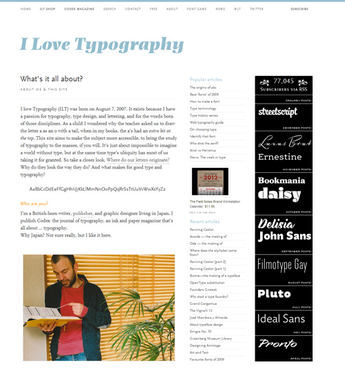 Screen Capture of I Love Typography Web Capture