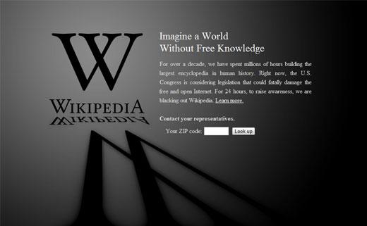 Wikipedia SOPA Screen Capture